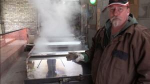 Kinsmen Sap Vat, boiling water due to lack of sap.
